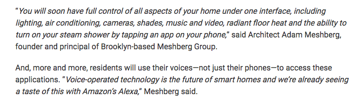 Architect Adam Meshberg in Multi Housing News on Smart Homes